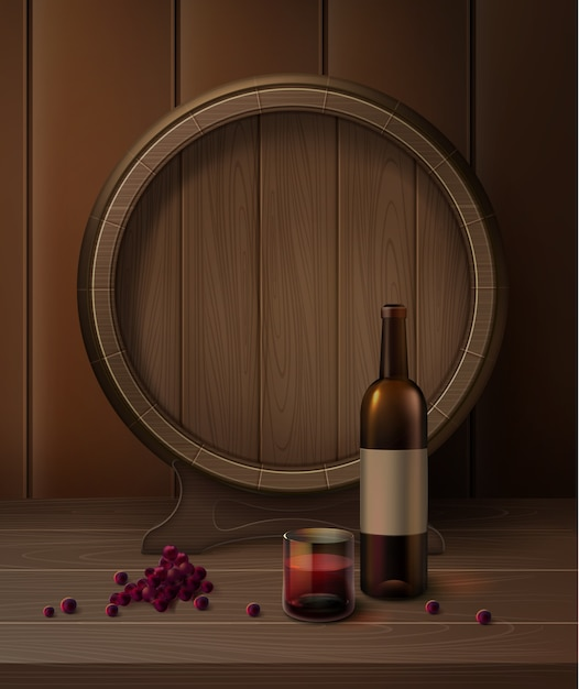 Vector barrel on stand with bottle of wine, glassful of red wine and grapes isolated on background Free Vector