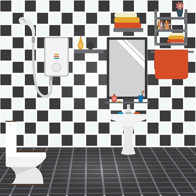 Vector of bathroom Premium Vector