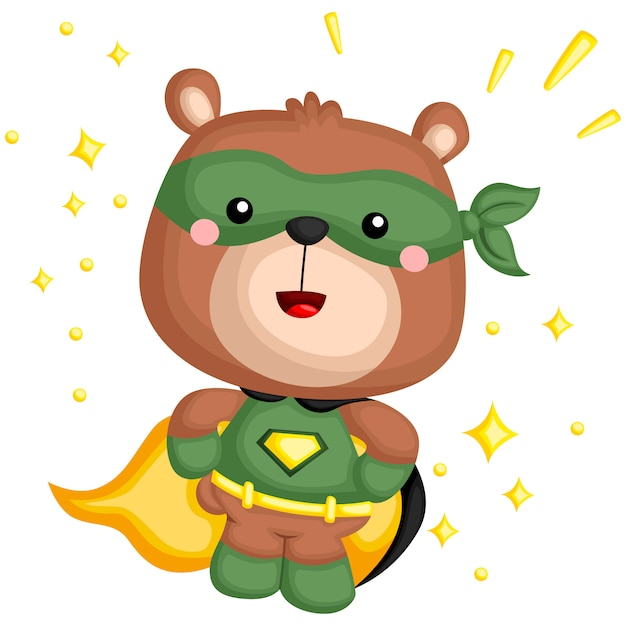 A vector of a bear in a superhero costume Premium Vector