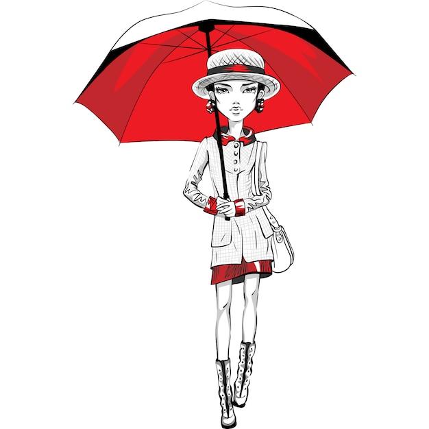 Вектор красивая модная хипстерская девушка топ-модель в осенней одежде, шляпе и сапогах, куртке и юбке с красным зонтиком Premium векторы