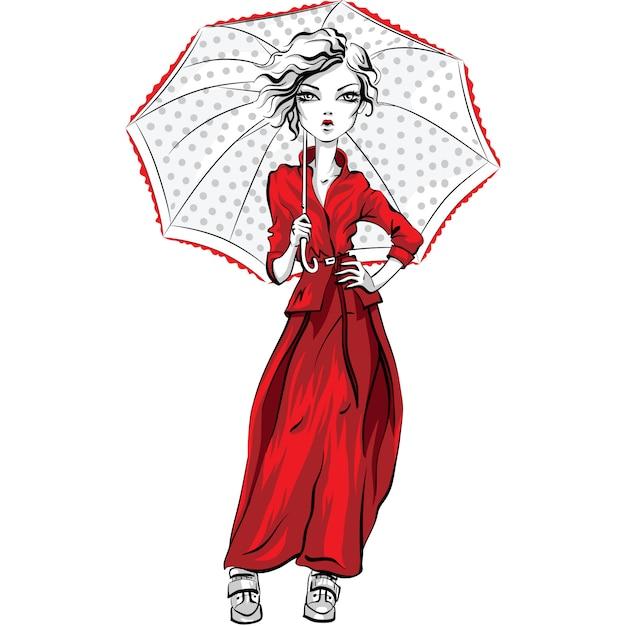 Вектор красивая модная хипстерская девушка топ-модель в осенней одежде, красной куртке и юбке с зонтиком Premium векторы