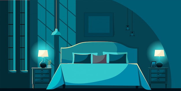 Vector bedroom interior at night with furniture, bed with many pillows in moonlight. bedroom interior nightstands, lighting lamps and windows. flat cartoon style vector illustration. Premium Vector