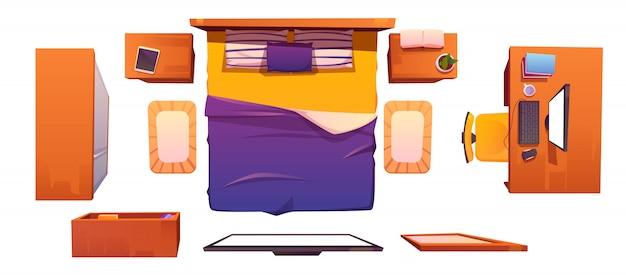 Векторный интерьер спальни установлен вид сверху Бесплатные векторы