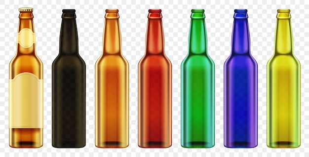 Vector beer bottle color glass isolated. packaging with realistic bottles set. Premium Vector