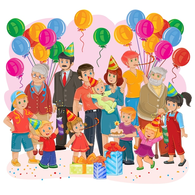 Vector Big Happy Family Together Celebrate A Birthday With Gifts Balloons And Cake Free