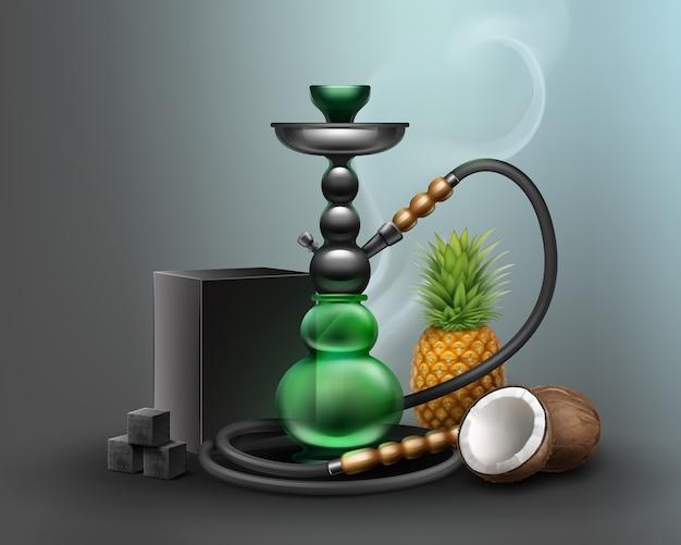 Vector grande narghilè per il fumo di tabacco in metallo e vetro verde con tubo lungo narghilè, carbone di legna. ananas e cocco su sfondo scuro Vettore gratuito