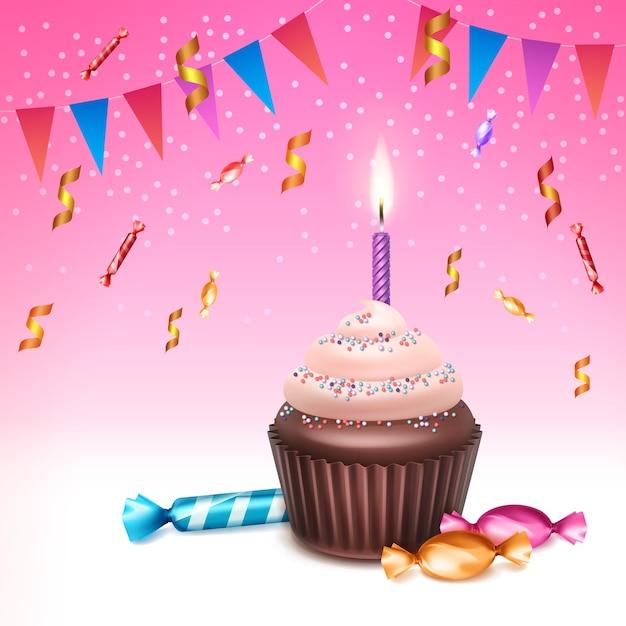 휘 핑된 크림, 뿌리, 불타는 촛불, 과자, 색종이 및 분홍색 배경에 깃발 천 플래그 벡터 생일 컵 케이크 무료 벡터