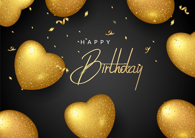 Vector birthday elegant greeting card with gold balloons and falling confetti Premium Vector