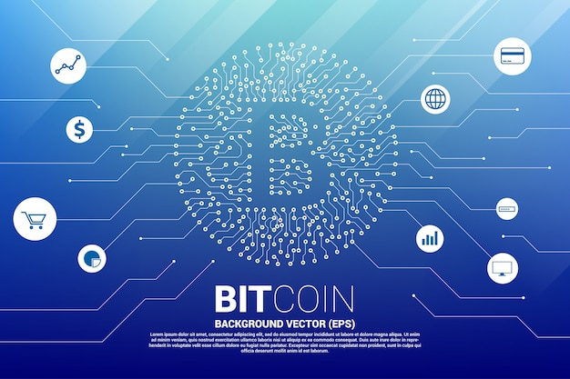 Vector bitcoin icon from circuit board style dot connect line with functional icon. Premium Vector