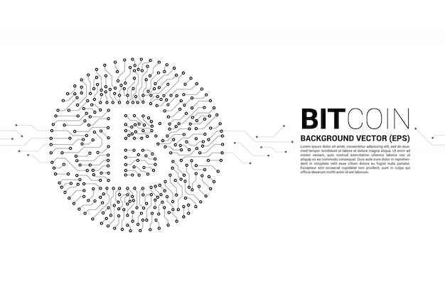 Vector bitcoin icon from circuit board style dot connect line. Premium Vector