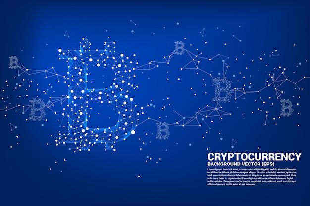 Vector bitcoin icon from polygon dot connect line. Premium Vector