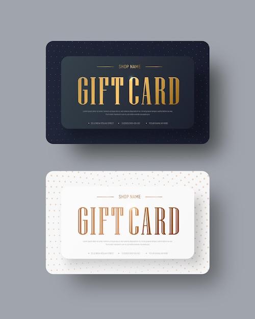 골드 텍스트와 점 벡터 흑백 선물 카드 디자인 프리미엄 벡터
