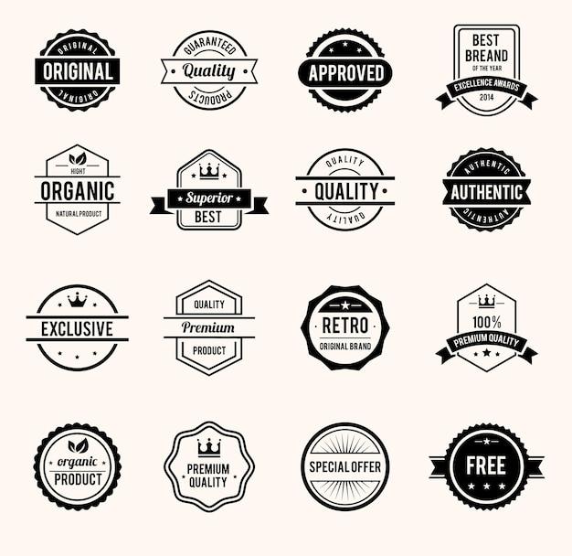 Вектор черно-белые ретро марки и значки изолированные Бесплатные векторы