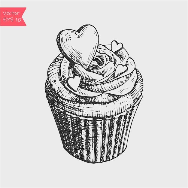 かわいいクリーミーな甘いカップケーキのベクトルの黒と白のスケッチイラスト。 Premiumベクター