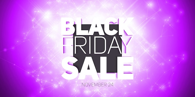 Vector black friday sale background with shining blast of fireworks. Free Vector