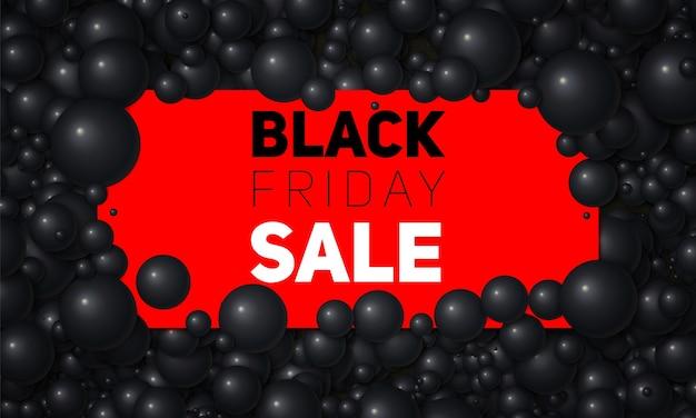 Illustrazione di vendita venerdì nero di vettore della carta bianca inserita in perle o sfere bianche Vettore gratuito