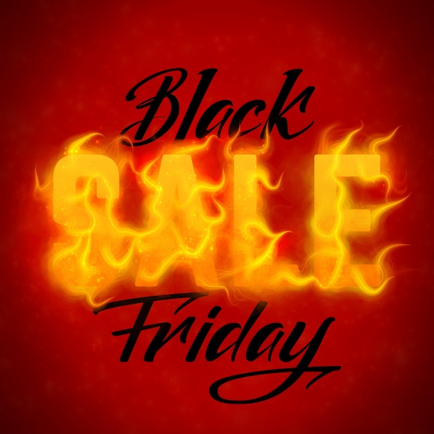 Vector black friday sale text with orange fire flames background Free Vector