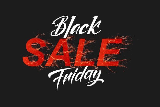 Vector black friday sale text with red fire flames background Free Vector