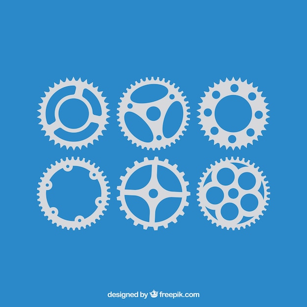 Vector black gears icons set Free Vector
