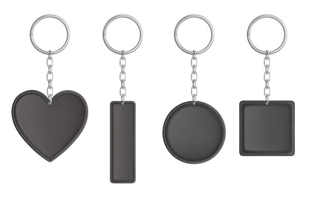 Векторный черный кожаный брелок, держатель для ключа Бесплатные векторы