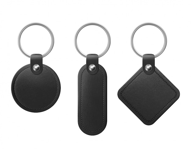 Vector black leather keychain with metal ring Free Vector