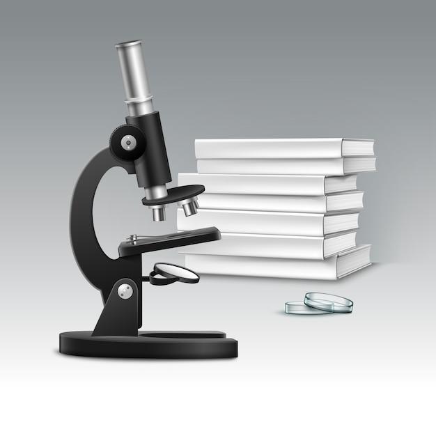 배양 접시와 배경에 고립 된 흰색 책 더미 벡터 검은 금속 광학 현미경 무료 벡터