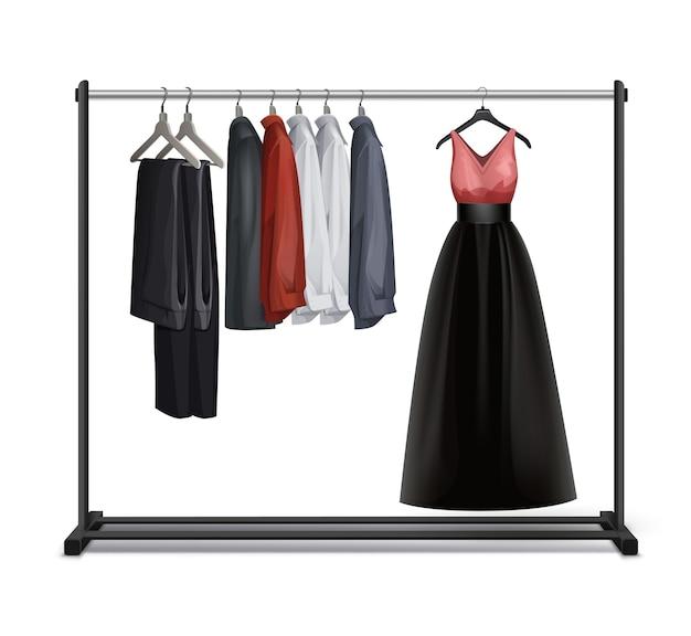 Вектор черный металл, деревянная вешалка для одежды с видом спереди платье, брюки, брюки и рубашки, изолированные на белом фоне Бесплатные векторы