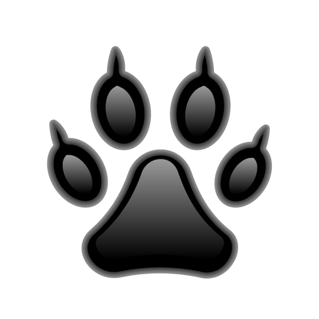 Vector black paw print isolated on white Free Vector