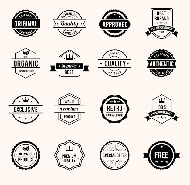 Vector black and white retro stamps and badges isolated Free Vector