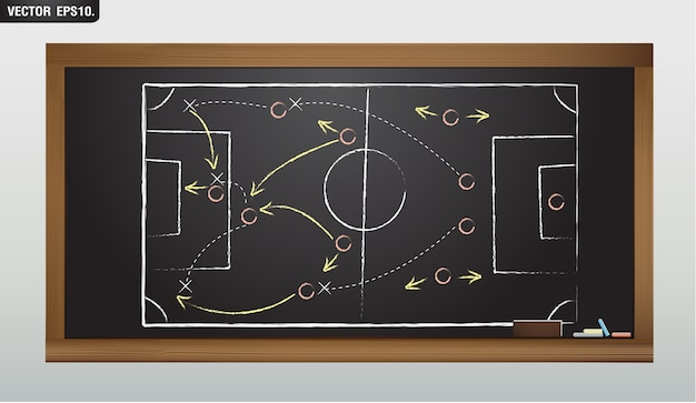 Vector blackboard drawing a soccer or football game strategy Premium Vector