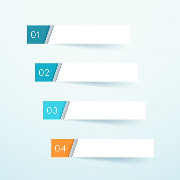 Vector blank colorful paper note elements set of four Premium Vector