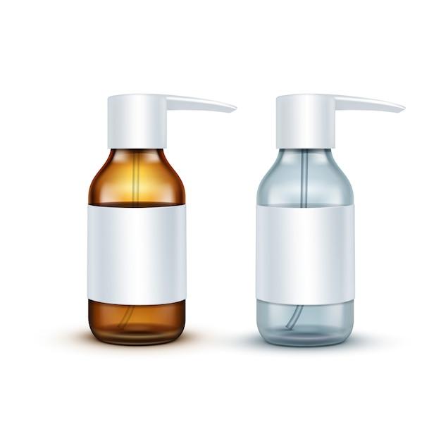 Вектор пустой стеклянный медицинский спрей бутылку изолированы Premium векторы