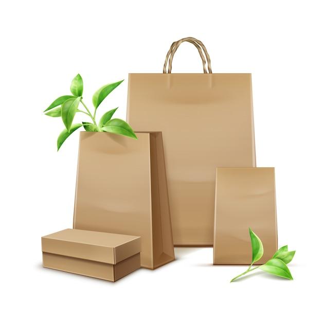 白い背景の上のブランディングのための葉を持つベクトル空白のクラフト紙袋 無料ベクター