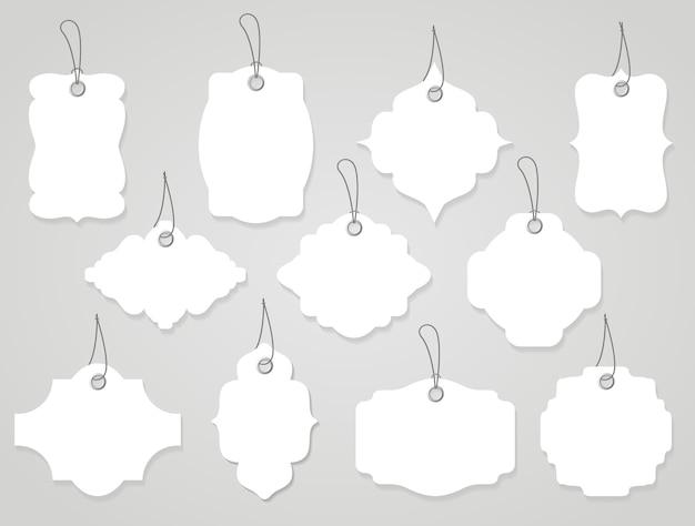 Вектор пустые этикетки или теги белые с веревками Бесплатные векторы