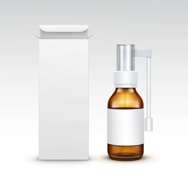 Коробка пакета упаковки бутылки медицины вектора пустая медицинская стеклянная Premium векторы
