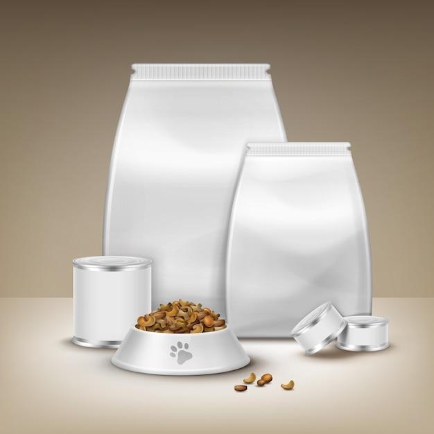 Вектор пустая упаковка, консервы и миска с кормом, изолированные на коричневом фоне Бесплатные векторы