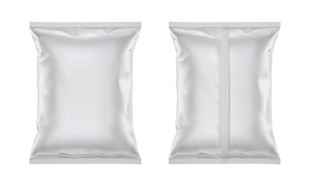 Vector blank plastic foil bag for packaging design Premium Vector