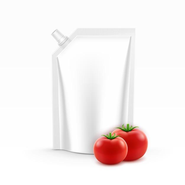 ベクトルブランクプラスチックスタンドアップパックまたはポーチホイルトマトケチャップの角蓋付き Premiumベクター