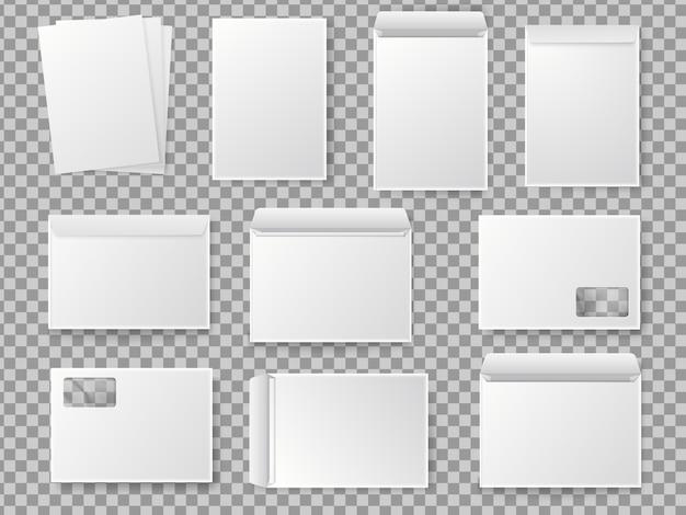 Vector blank white paper c4 envelope set. realistic mockup for paper a4. Premium Vector