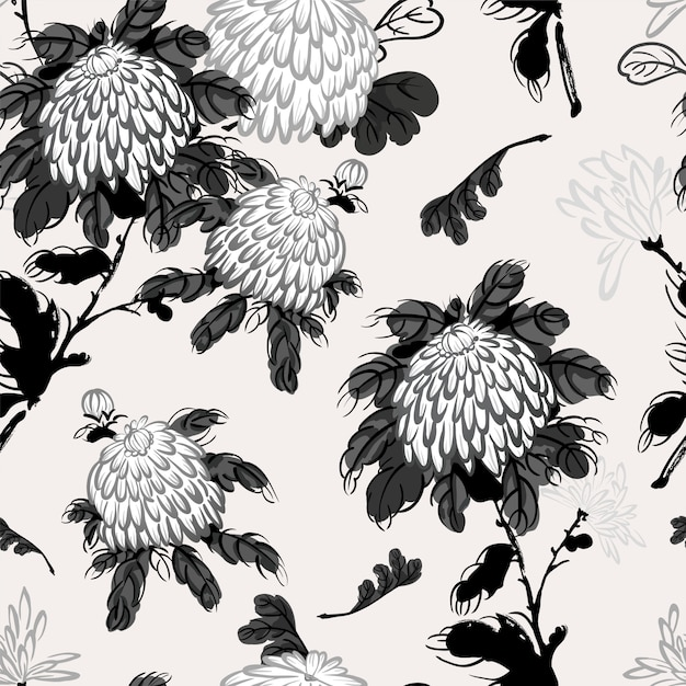 Vector blooming chrysanthemum in chinese style Premium Vector