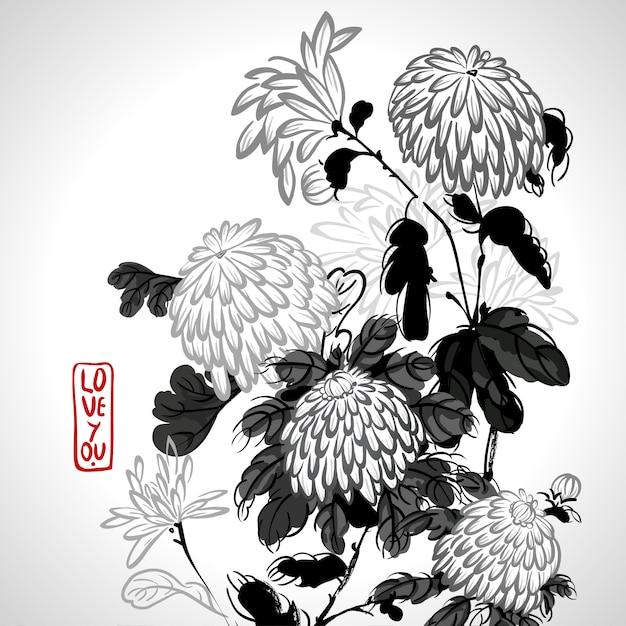 Vector blooming chrysanthemum in chinese style Premium Vector