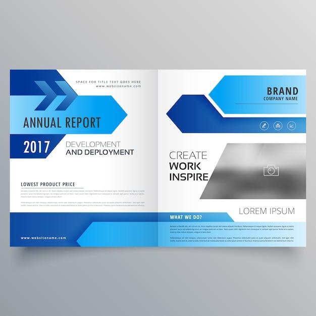 Premium Vector Vector Blue Bi Fold Business Brochure Template Design