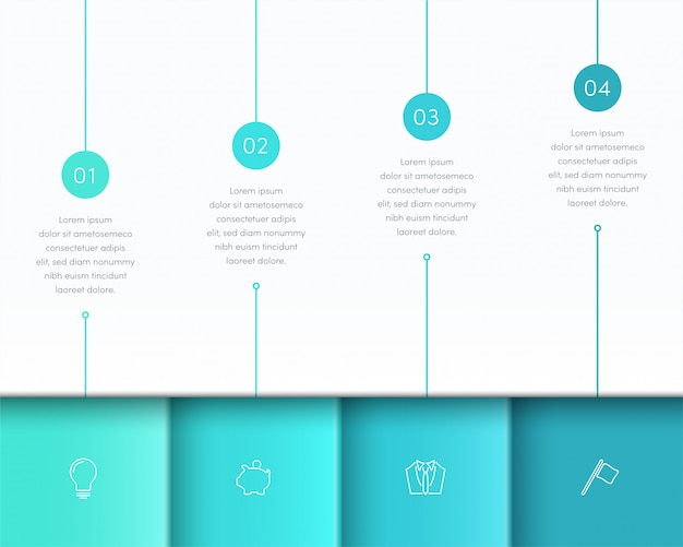 Vector blue infographic 3d page layout with steps one to four Premium Vector