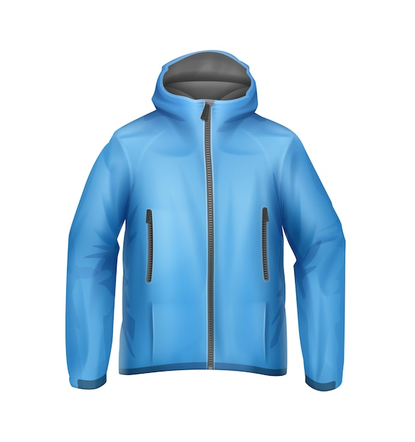 Vector blue softshell giacca sportiva unisex con cappuccio vista frontale isolato su sfondo bianco Vettore gratuito