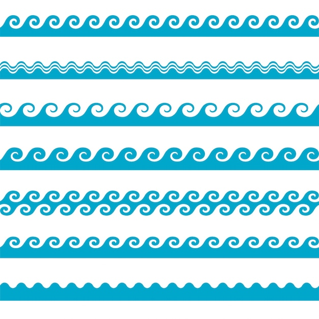 벡터 블루 웨이브 아이콘 흰색 배경을 설정합니다. 물 파도 무료 벡터