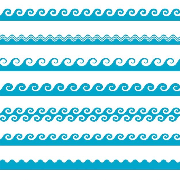 Vector icone ondulate blu impostare su sfondo bianco. onde d'acqua Vettore gratuito