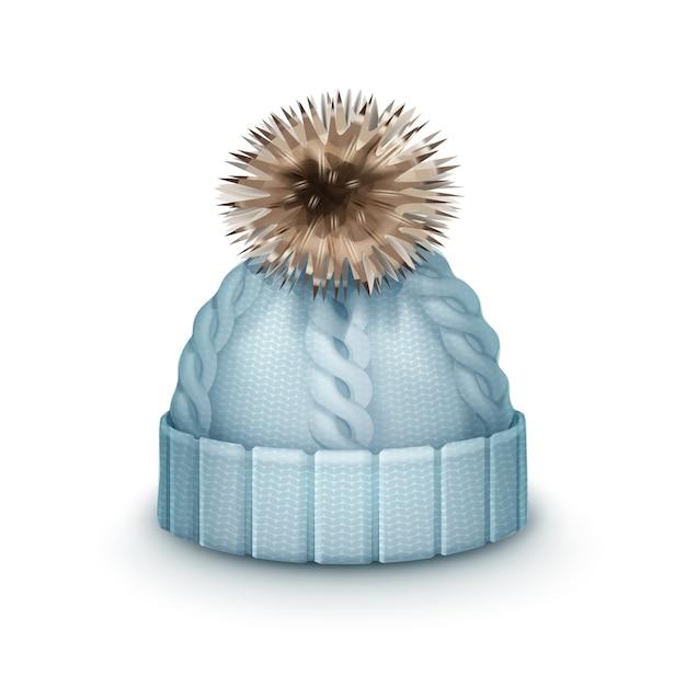 白い背景で隔離のポンポン側面図とベクトル青い冬のニット帽 無料ベクター