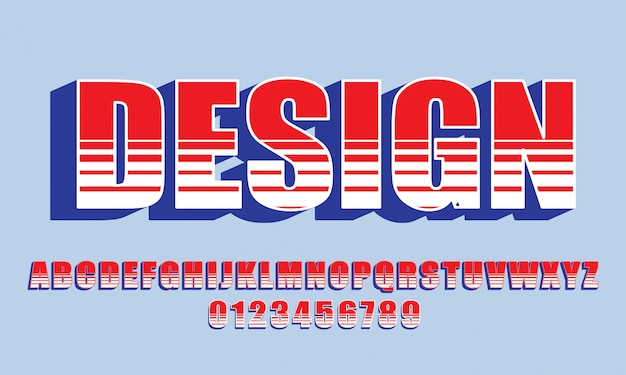 Vector of bold modern font and alphabet, typeface, letters and numbers, typography. - vector Premium Vector