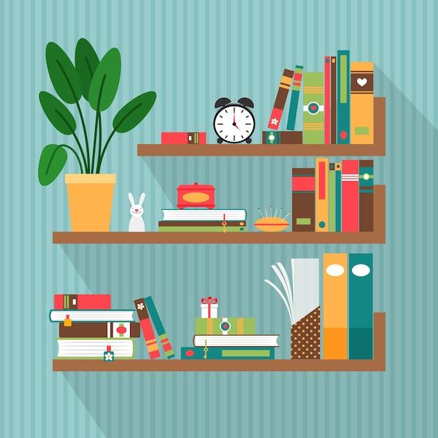 책장에 벡터 책입니다. 도서관 및 문학, 인테리어 및 연구 무료 벡터