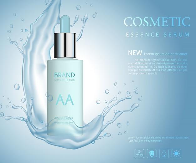 Vector bottle cosmetic, with water splashing Premium Vector